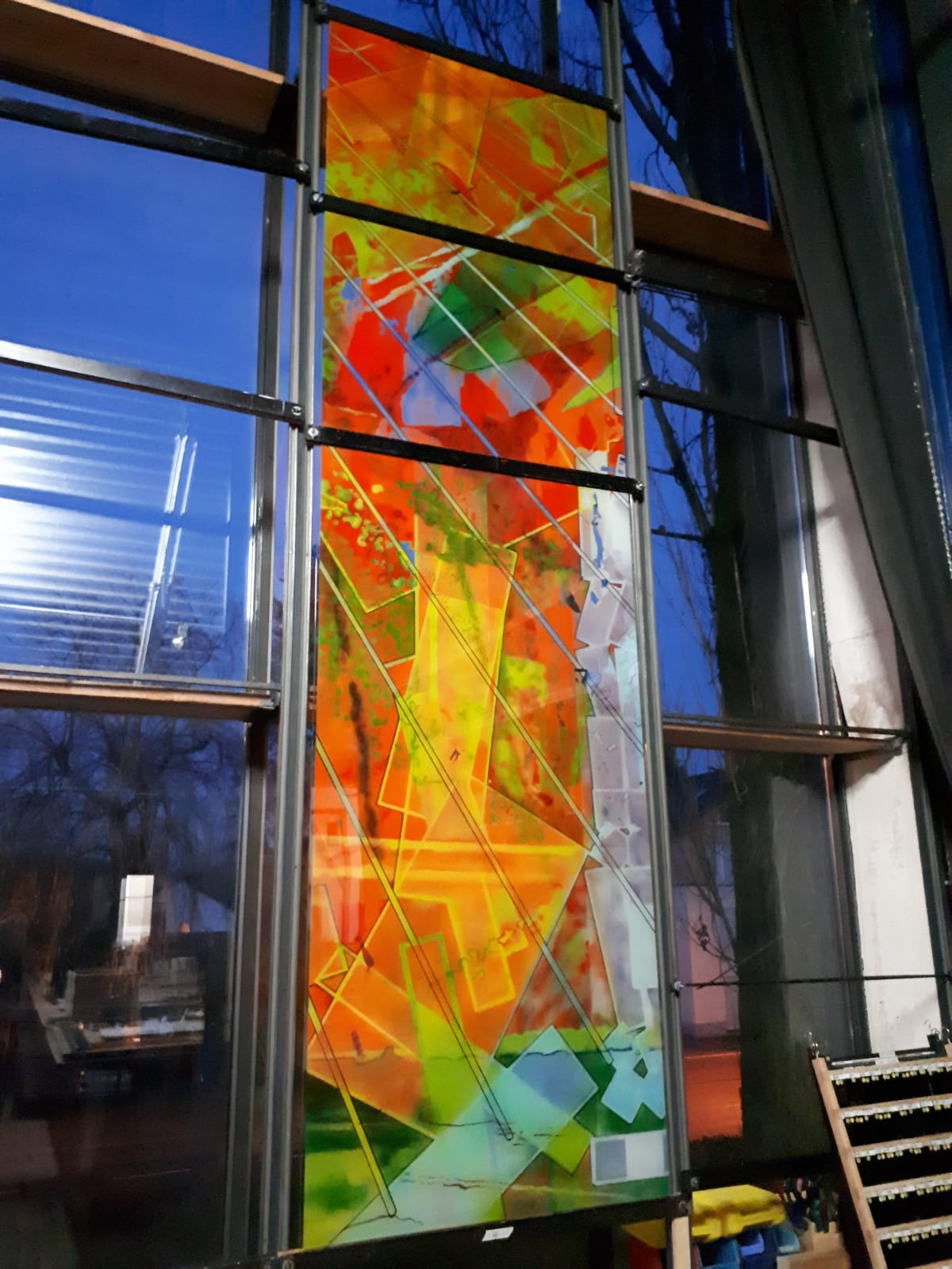 Pool glass art panel for the Aurora Central Recreation Center.